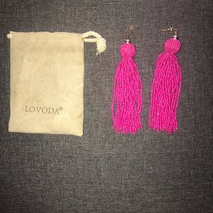 Lovoda Fringe Earrings (Pink)